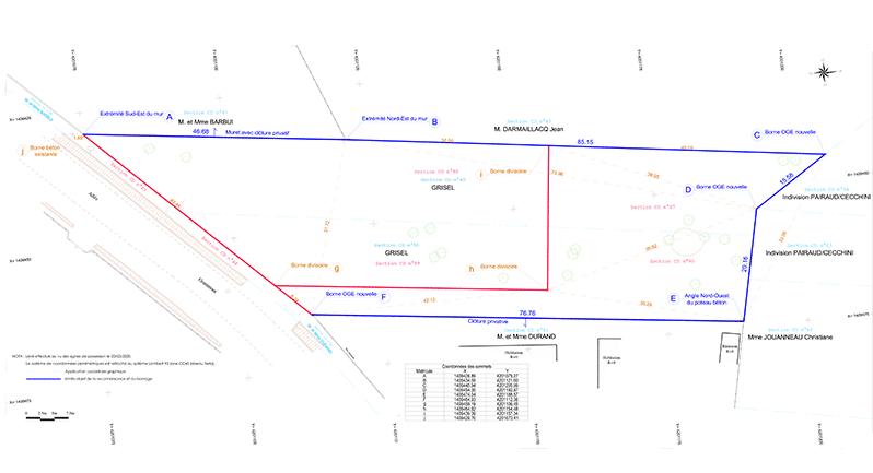 photo d'un plan de bornage