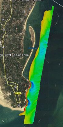 réalisation d'un lever topographique sur la pointe du Cap Ferret